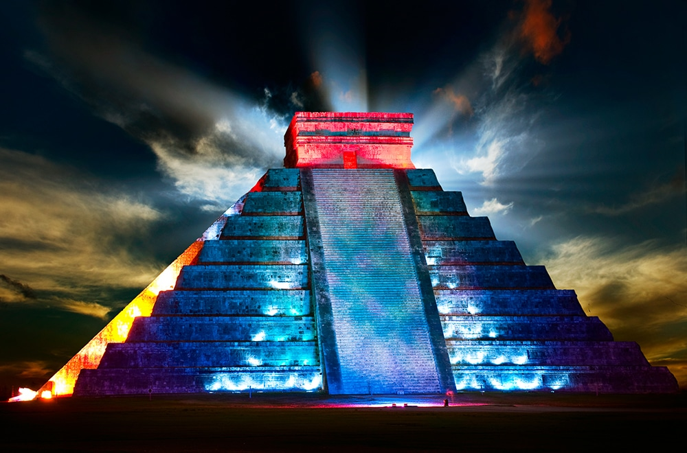 Kukulcan night and day from Riviera Maya